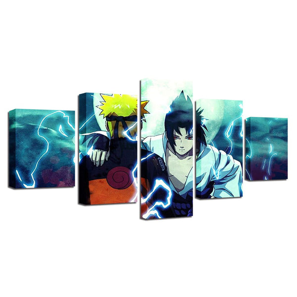 Naruto And Sasuke 5 Panel Canvas Print Wall Art