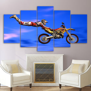 Moto-X X-Games Superman Dirtbike 5 Panel Canvas Print Wall Art
