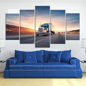 Semi Truck Big Rig On The Highway 5 Panel Canvas Print Wall Art