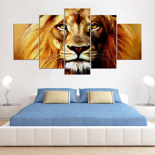 Lion Painting 5 Panel Canvas Print Wall Art