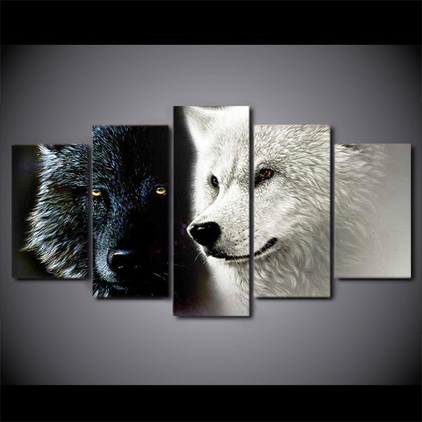 Black Wolf White Wolf 5 Panel Canvas Print Wall Art