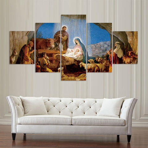 Birth Of Jesus Nativity Painting 5 Panel Canvas Print Wall Art