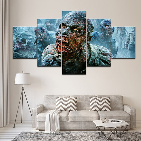 Zombie 5 Panel Canvas Print Wall Art