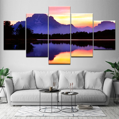 Grand Teton Mount Moran Sunset 5 Panel Canvas Print Wall Art