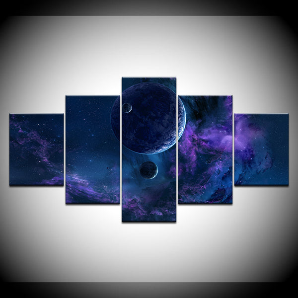 Space Abstract Fantasy 5 Panel Canvas Print Wall Art