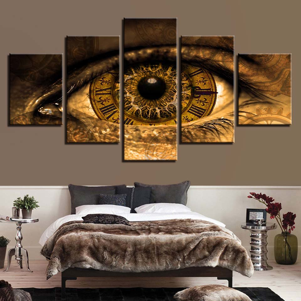 Abstract Eye Clock 5 Panel Canvas Print Wall Art