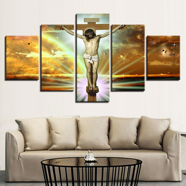 Jesus Christ On The Cross Painting 5 Panel Canvas Print Wall Art