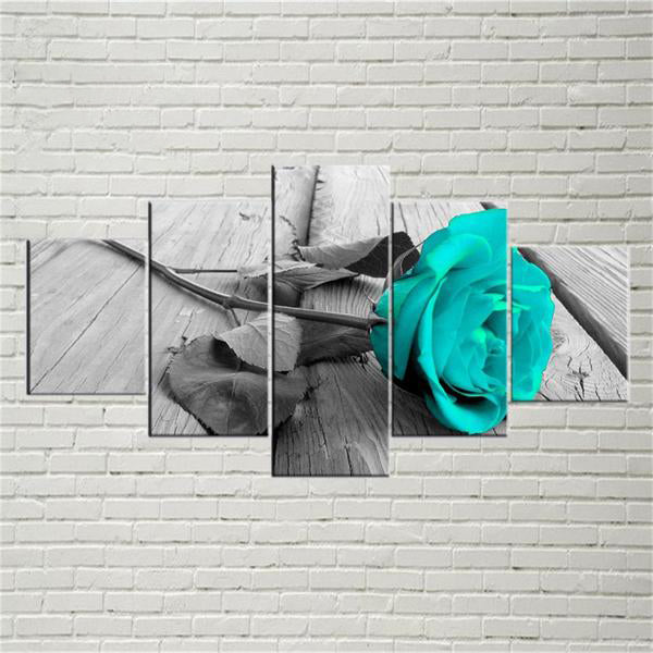 Teal Rose On Wood Deck 5 Panel Canvas Print Wall Art