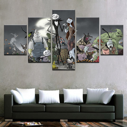 Nightmare Before Christmas 5 Panel Canvas Print Wall Art