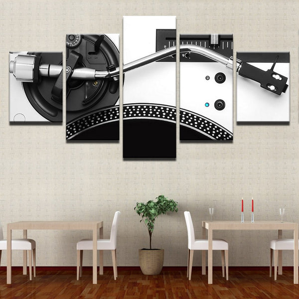Turntable Record Player DJ 5 Panel Canvas Print Wall Art