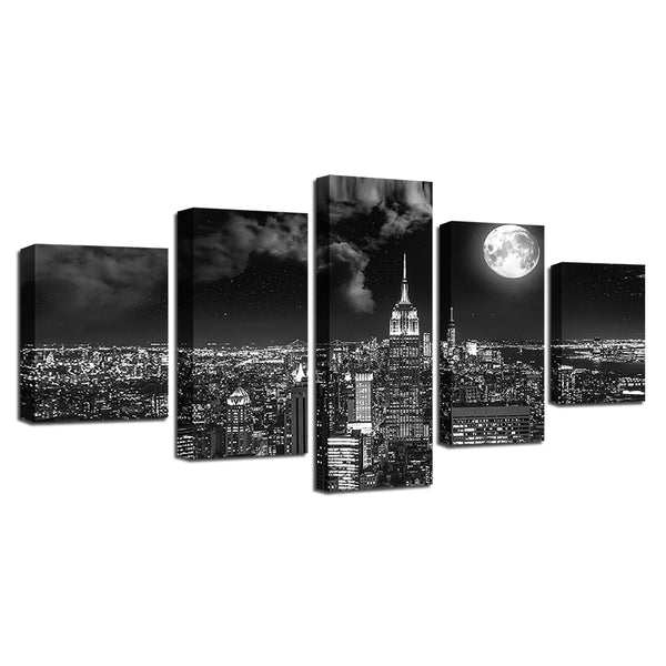New York City Under The Full Moon 5 Panel Canvas Print Wall Art