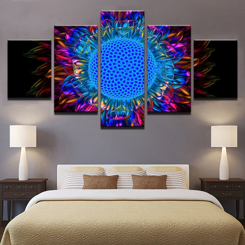Sunflower Rainbow Abstract 5 Panel Canvas Print Wall Art