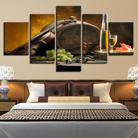 Wine Barrel Violin Grapes 5 Panel Canvas Print Wall Art