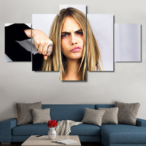 Cara Delevingne 5 Panel Canvas Print Wall Art