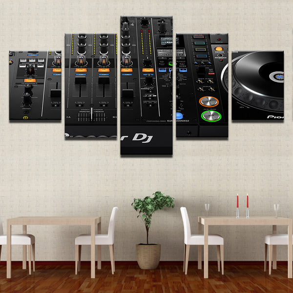 DJ Mixer Console 5 Panel Canvas Print Wall Art