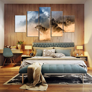 Wolves Howling In The Snow 5 Panel Canvas Print Wall Art
