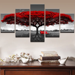 Red Tree On Black And White Field 5 Panel Canvas Print Wall Art