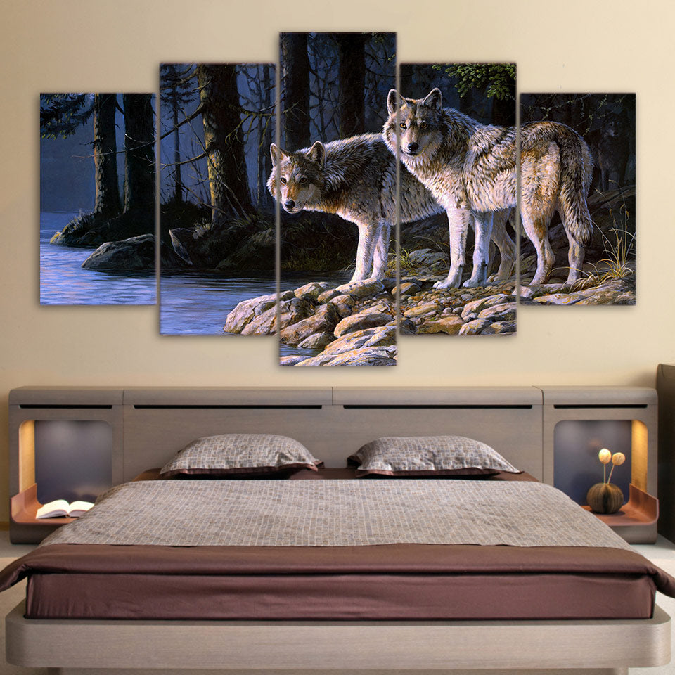 Wolves In Forest 5 Panel Canvas Print Wall Art
