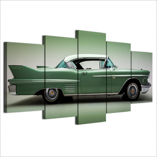 1958 Cadillac 5 Panel Canvas Print Wall Art