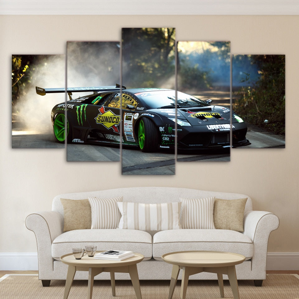 Lamborghini Drifting 5 Panel Canvas Print Wall Art