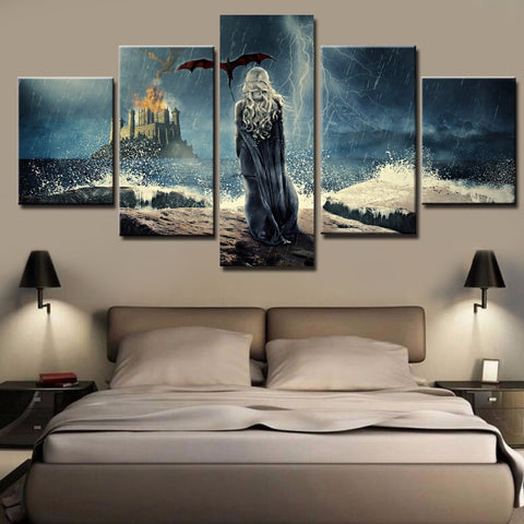 Game Of Thrones Daenerys Targaryen 5 Panel Canvas Print Wall Art