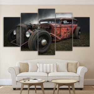 Rat Rod Vintage Hot Rod Maltese Cross 5 Panel Canvas Print Wall Art