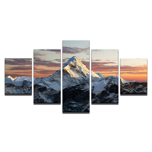 K2 Snowy Mountain Peak 5 Panel Canvas Print Wall Art