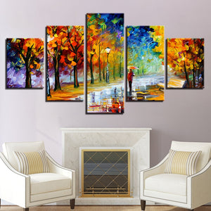 Walk In The Park Abstract Painting 5 Panel Canvas Print Wall Art