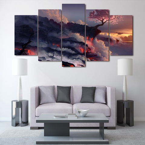 Cherry Tree In Bloom Over Volcano Lava 5 Panel Canvas Print Wall Art
