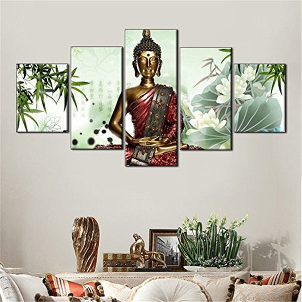 Buddha Statue 5 Panel Canvas Print Wall Art