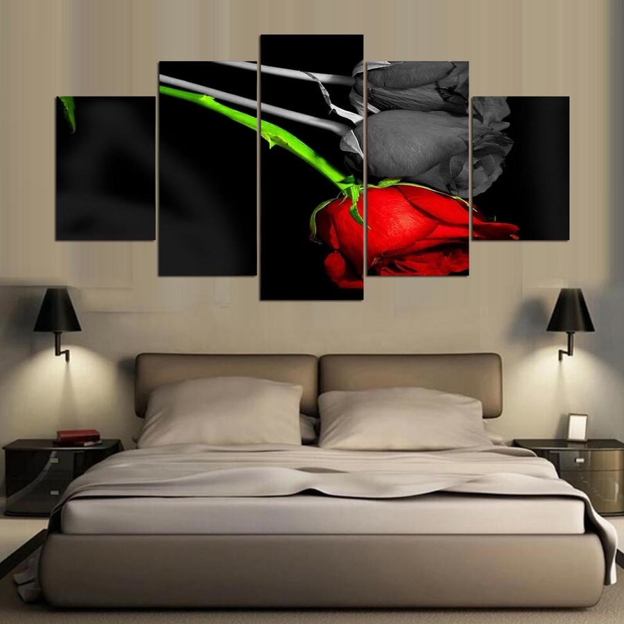 Red Rose Black And White 5 Panel Canvas Print Wall Art