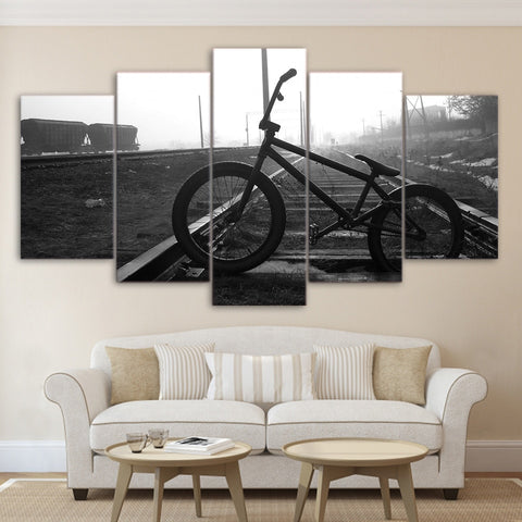 BMX Bike On Train Tracks 5 Panel Canvas Print Wall Art