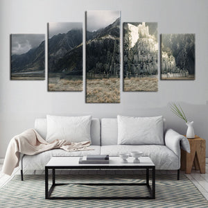 Lord Of The Rings Minas Tirith 5 Panel Canvas Print Wall Art