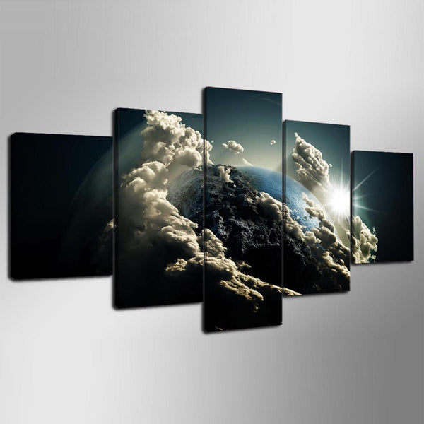 Abstract Planet Earth From Space 5 Panel Canvas Print Wall Art