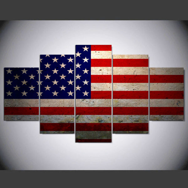 American Flag US USA 5 Panel Canvas Print Wall Art
