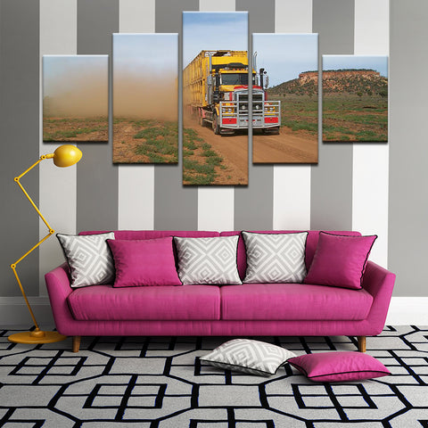 Road Train In The Australian Outback 5 Panel Canvas Print Wall Art