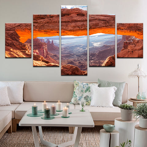 Grand Canyon Rock Arch 5 Panel Canvas Print Wall Art