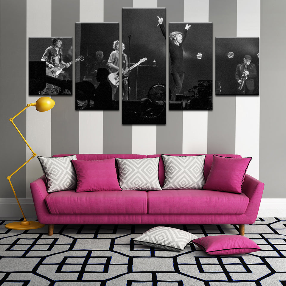 Rolling Stones 5 Panel Canvas Print Wall Art
