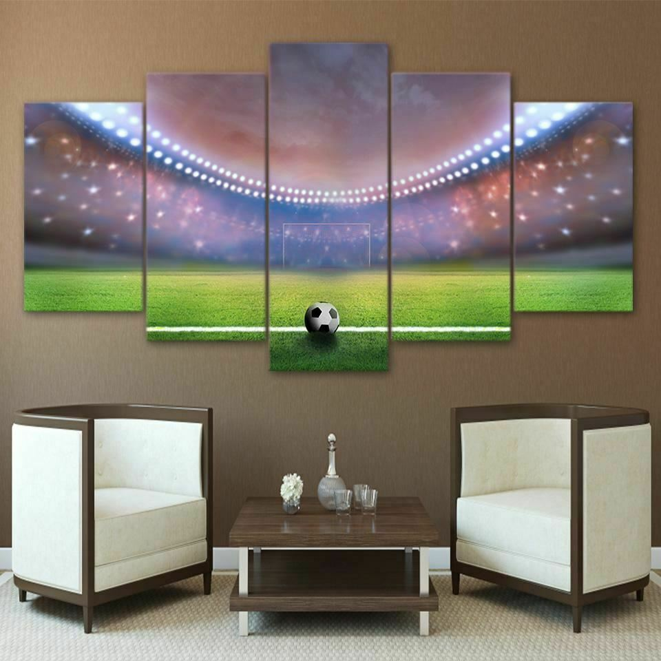 Soccer Football Stadium 5 Panel Canvas Print Wall Art