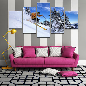 Downhill Skiing 5 Panel Canvas Print Wall Art