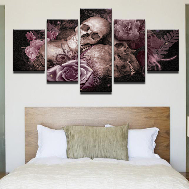 Skulls And Pink Roses 5 Panel Canvas Print Wall Art