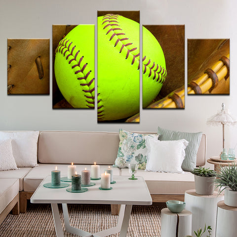 Softball 5 Panel Canvas Print Wall Art