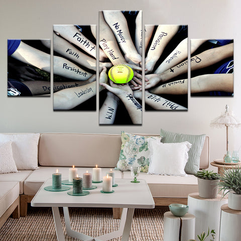 Softball Motivational 5 Panel Canvas Print Wall Art