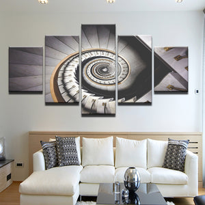 Spiral Staircase 5 Panel Canvas Print Wall Art