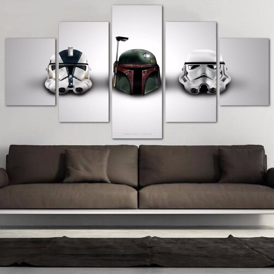 Star Wars Helmets Stormtrooper Boba Fett 5 Panel Canvas Print Wall Art