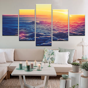 Sunrise Above The Clouds 5 Panel Canvas Print Wall Art