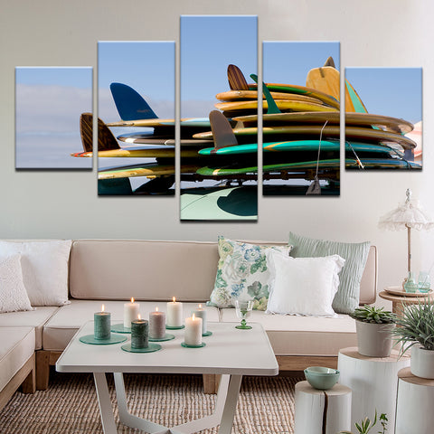 Surfboards, Ever So Many Surfboards 5 Panel Canvas Print Wall Art