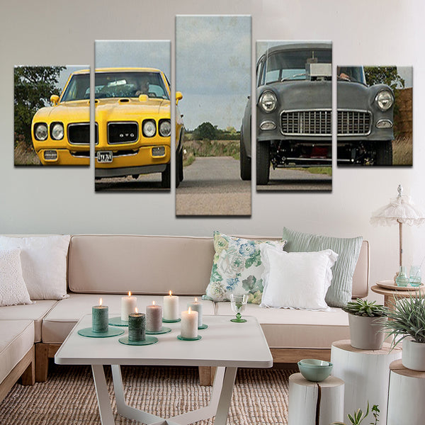 Two Lane Blacktop GTO 55 Chevy 5 Panel Canvas Print Wall Art