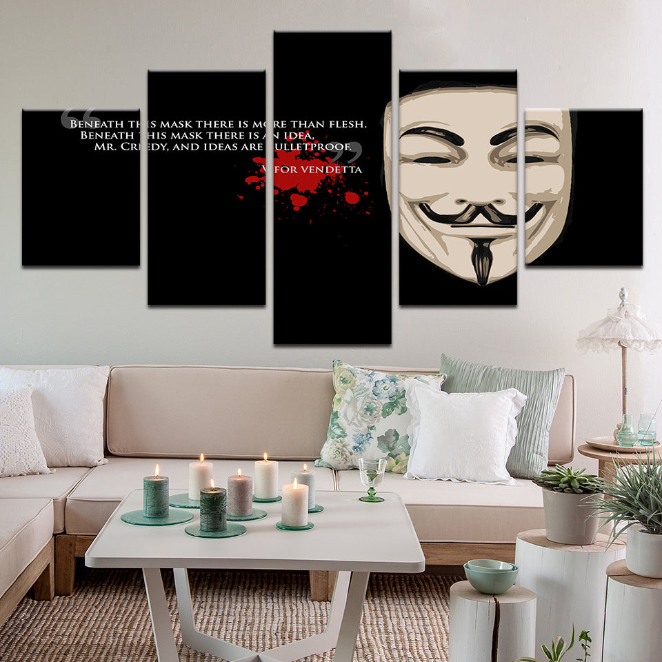 V Is For Vendetta Quote 5 Panel Canvas Print Wall Art