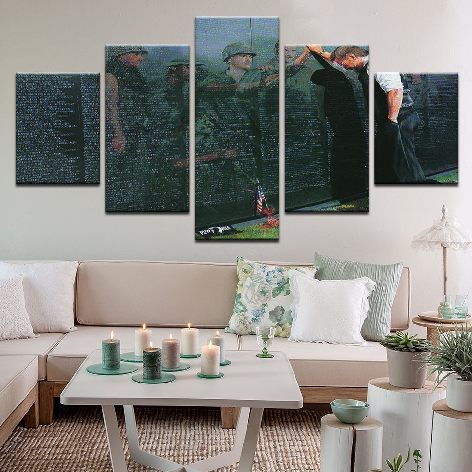 Vietnam Memorial 5 Panel Canvas Print Wall Art